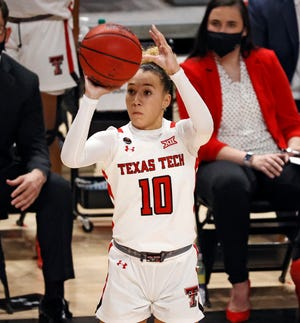 Texas Tech's Naje Murray (10) shoots the ball during the game against UTRGV, Wednesday, Nov. 25, 2020, at United Supermarkets Arena in Lubbock, Texas.