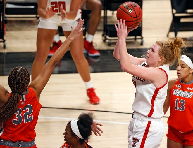 Texas Tech's Vivian Gray (12) shoots the ball during the game against UTRGV, Wednesday, Nov. 25, 2020, at United Supermarkets Arena in Lubbock, Texas.
