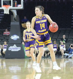 Western Illinois' Elizabeth Lutz handles the ball during the Summit League Tournament last March.