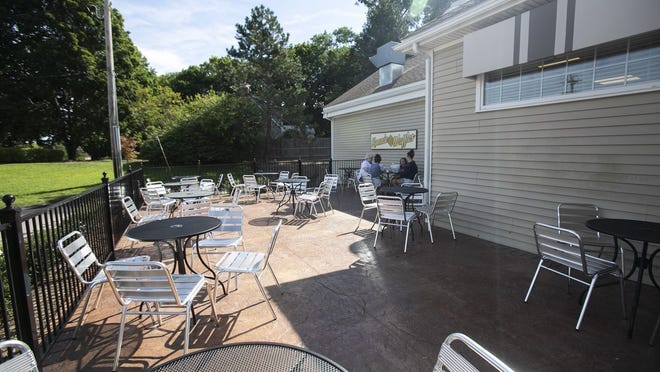 Outdoor patio dining is seen at Ronnie Waffles in Bridgewater.