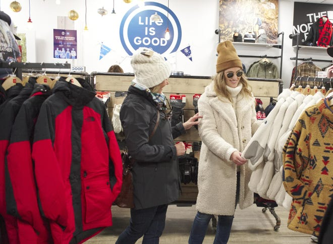 Nancy Marshall and her daughter Sarah Hoffman shop at Life is Good on Small Business Saturday in 2019.