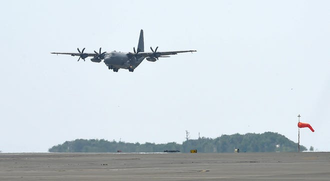The first AC-130J gunship landed on the runway on Wednesday July 29, 2015 at Hurlburt Field.