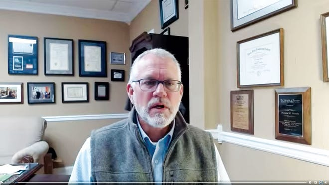 A screen capture of the Facebook video in which Roane County Executive Ron Woody issued the mask mandate.