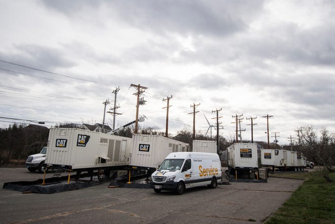 Five rented generators, and their power poles, are installed in Hull on Nov. 25, 2020, to protect the town against disruptions in power during the winter.