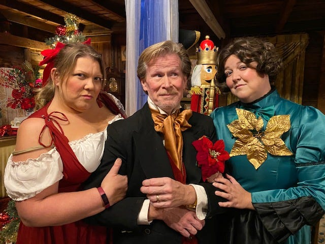 "Sara Shanahan, George Hosker-Bouley and Katy Hunt star in ""The Two Wives of Charles Dickens,"" which will be streamed online this holiday season."