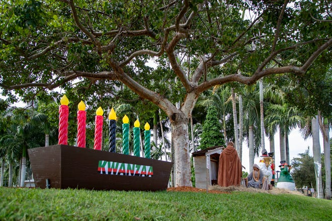Wellington built a Kwanzaa kinara for its first celebration of the festival, which began in 1966 and draws on elements of African festivals.