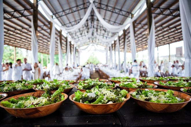 Swank Farm hosts a popular white party every spring as part of its farm dinner series. This photo was taken at the 2018 dinner. [Provided by Gyorgy Papp Photography]