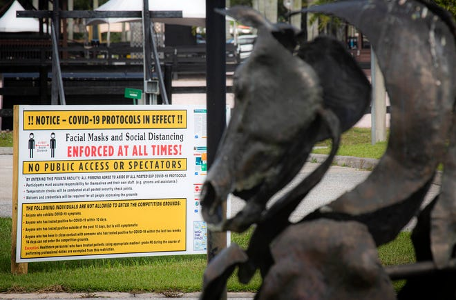 Signs posted outside the Palm Beach International Equestrian Center warn that there is no public access or spectators allowed due to COVID-19 in Wellington, November 25, 2020. (ALLEN EYESTONE/THE PALM BEACH POST)