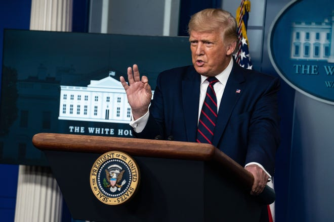 President Donald Trump speaks at a news conference at the White House in Washington in September. [Anna Moneymaker/The New York Times]