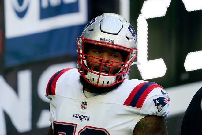 New England Patriots offensive tackle Isaiah Wynn (76) prior to an NFL football game against the Houston Texans, Sunday, Nov. 22, 2020, in Houston.