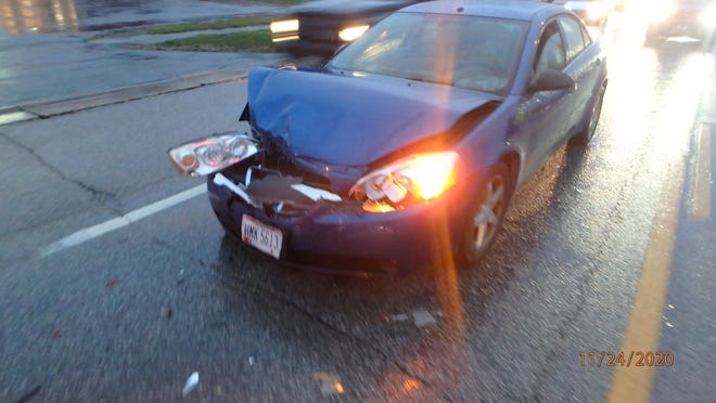 This car sustained front-end damage after it crashed into the rear of another car, pushing it into the rear of a third car which went into the rear of a fourth on Route 14 in Streetsboro on Tuesday. Minor injuries were reported. The car's driver, a 24-year-old Atwater man, was cited with assured clear distance ahead.