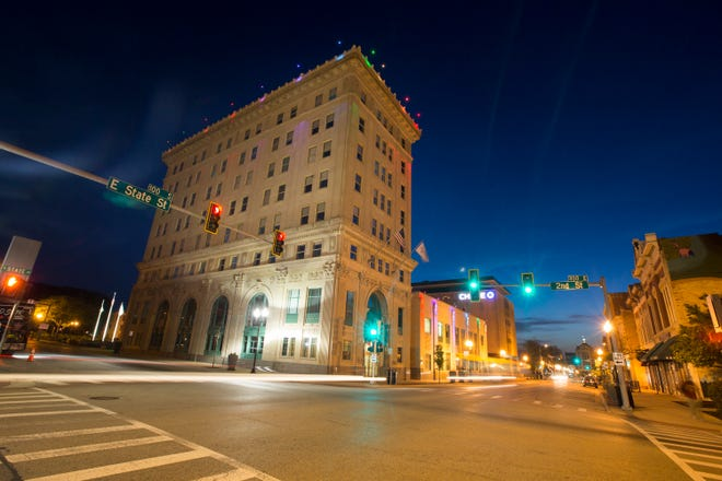 Rockford City Hall is illuminated by colored lights in observance of Rockford's Pride Month on Wednesday, June 5, 2019, in Rockford. [SCOTT P. YATES/RRSTAR.COM STAFF]