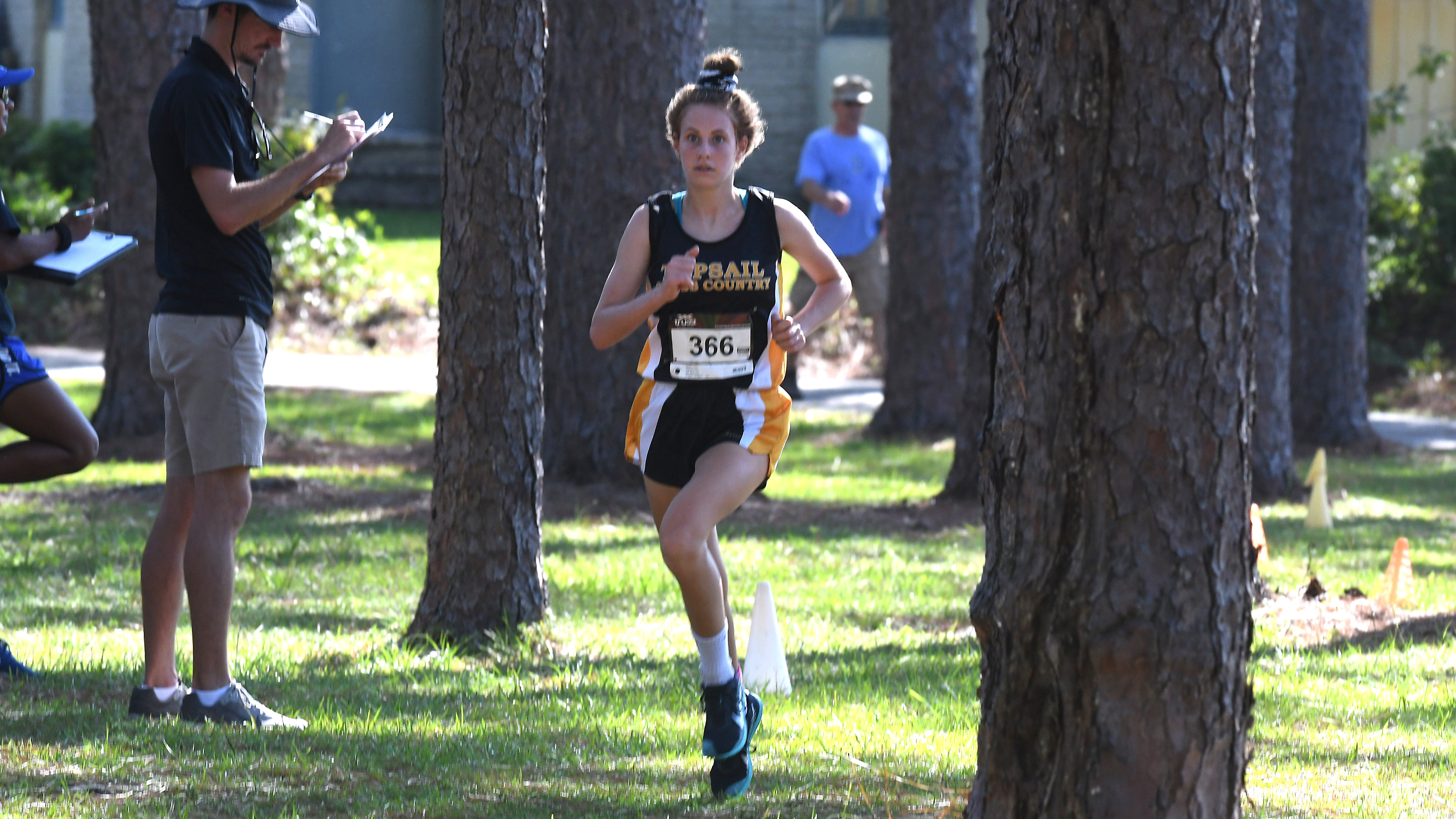 Topsail's Kaitlyn Obremski came in 1st place for the girls with a 18:29.60 during the Hugh MacRae Park Cross Country Kickoff hosted by Hoggard High School Thursday August 22, 2019 at Hugh MacRae Park in Wilmington, N.C.