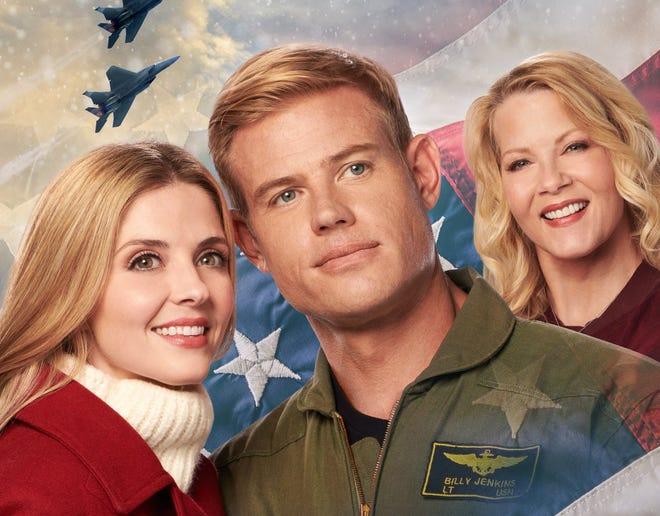 "Jen Lilley (left to right), Trevor Donovan and Barbara Niven star in Hallmark Movies & Mysteries' Wilmington-shot ""USS Christmas,"" premiering 10 p.m. Nov. 28."