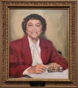 """The portrait of School Committee member Margery """"Ruby"""" Dottin that hangs in New Bedford Free Public Library. Dottin was the first Black person to serve on the New Bedford School Committee."""