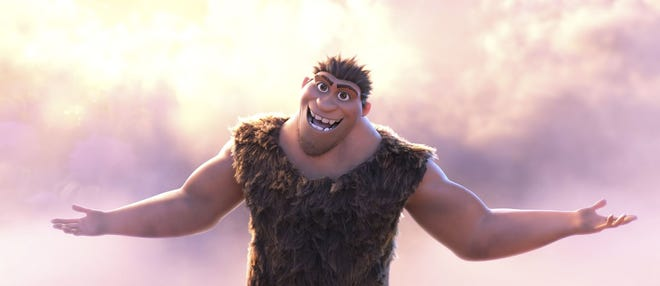 "Grug Crood, voiced by Nicolas Cage, appears in the animated film ""The Croods: A New Age."""