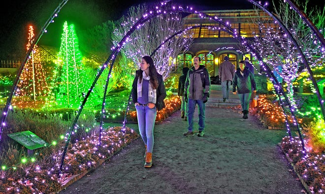 Guests walk through the Systematic Garden during Tower Hill's winter light display in 2016. The pandemic prompted the cancellation of this year's event.