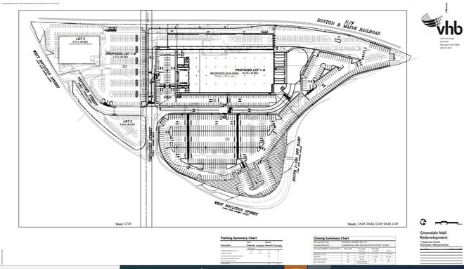 Part of a site plan showing the proposed warehouse and distribution on the site of the Greendale Mall on Neponset Street.