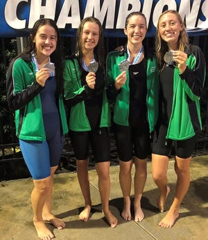Gabrielle Gonzalez (from left), Tyler Cross, Ana Sanchez and Chloe Fowler helped Eastside place sixth in the girls 400 freestyle relay at state.