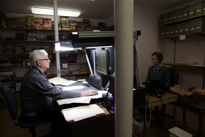 The archives of Mayflower Society descendants and applications are in the process of being meticulously digitized. [Wicked Local Staff Photo/Alyssa Stone]