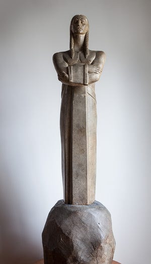 This is the original plaster statue of Chief Masconomo made by George Aarons. It is in the collection of the Manchester Historical Museum.
