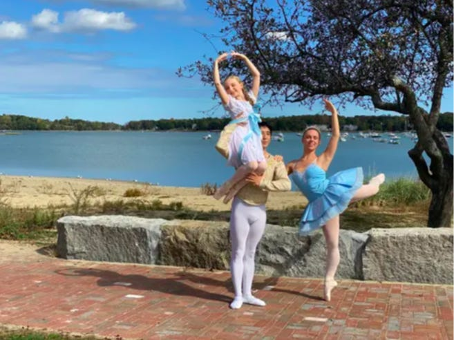 From left: Julia Wessler, of Rockland, as Clara; Harry Yamakawa-Moser, of Winchester, as Cavalier; and Olivia Boutin, of Plymouth, as Sugar Plum, on location at Hingham Bathing Beach, Hingham.