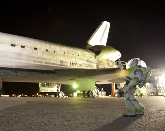 Disney's space ranger Buzz Lightyear returned from space on Sept. 11, 2009 aboard Space Shuttle Discovery's STS-128 mission after 15 months aboard the International Space Station.