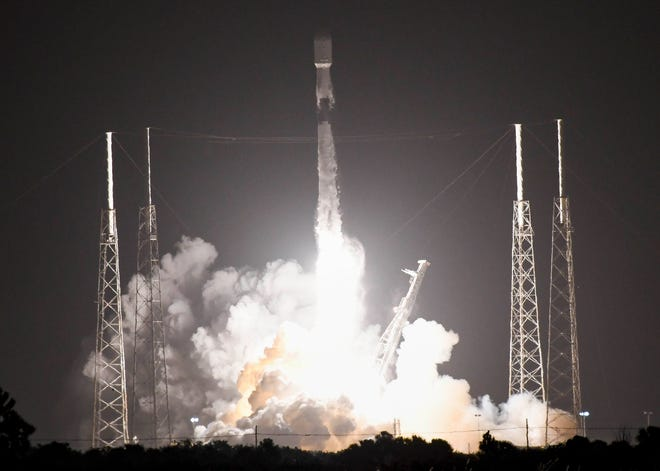 A SpaceX Falcon 9 rocket lifts off from Launch Complex 40 at Cape Canaveral Air Force Station with the company's 16th batch of Starlink internet satellites on Tuesday, Nov. 24, 2020.