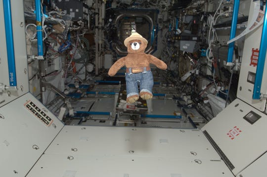 Smokey the Bear floats freely in the hatchway of the International Space Station's Destiny laboratory. On May 15, 2012, Smokey traveled aboard the Soyuz spacecraft with NASA astronaut Joe Acaba and Russian cosmonauts Gennady Padalka and Sergei Revin to the space station.