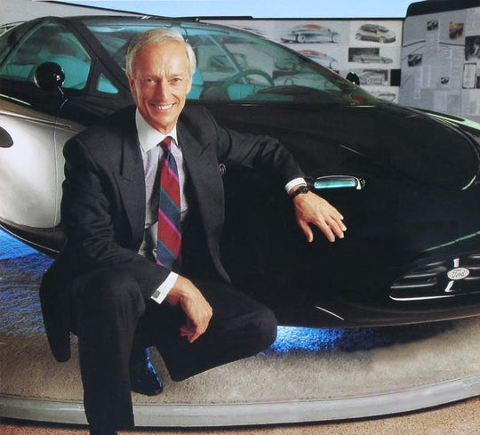 Jack Telnack, vice president of global design at Ford Motor Co., is pictured here with a concept car called the Contour in a studio at the Ford Design Center in Dearborn just prior to his retirement in 1998. He was inducted into the Automotive Hall of Fame in 2008.