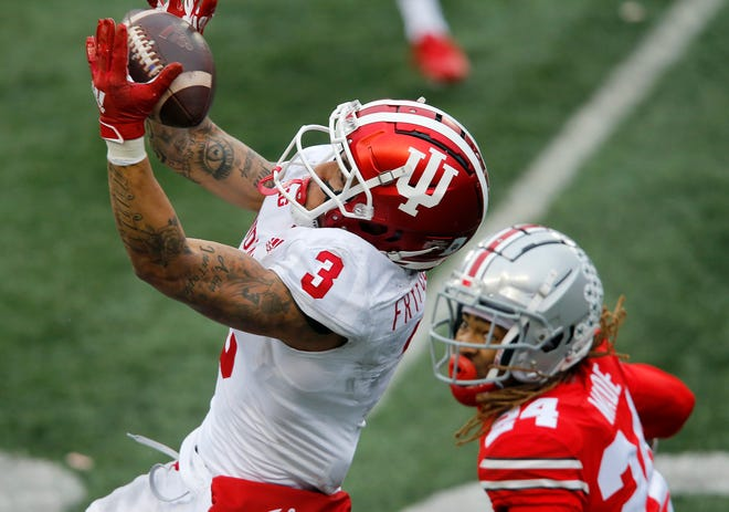 Indiana's Ty Fryfogle catches this 50-50 ball over Ohio State cornerback Shaun Wade and turns it into a 33-yard touchdown
