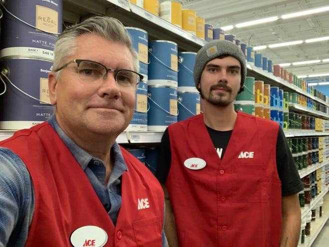 Greg Yandell, left, and his son Logan, at a new ACE Hardware now open in the former Aldi's location on West Main Street in Hendersonville.