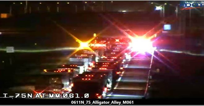 Traffic is pictured on Alligator Alley after a crash near mile marker 62 early on Nov. 25, 2020.
