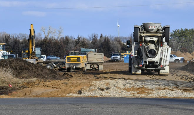 Work continues at the site of the new North Central Utility location near Interstate 94 Friday, Nov. 20, 2020, in St. Augusta.