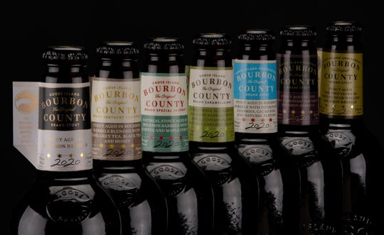 The 2020 Goose Island Bourbon County Stout lineup will go on sale this Black Friday, November 27, 2020 and includes, from left to right: Bourbon County Stout, Bourbon County Kentucky Fog Stout, Bourbon County Special #4 Stout, Bourbon County Caramella Ale, Proprietor's Bourbon County Stout, Birthday Bourbon County Stout, Anniversary Bourbon County Stout.