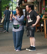 """Melissa McCarthy and director/husband Ben Falcone on the set of """"Superintelligence."""""""