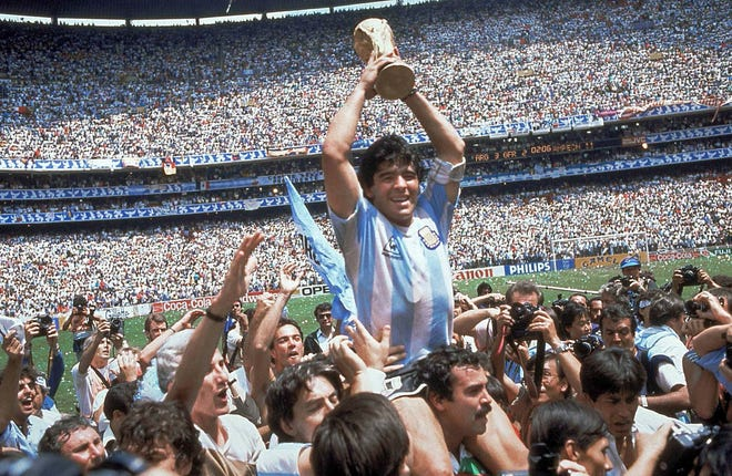 Diego Maradona llevó a Argentina al título de la Copa del Mundo de 1986.