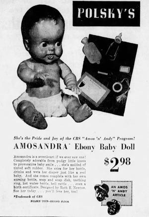 Polsky's department store advertises the Amosandra doll for sale in Akron for $2.98 in 1949. It was manufactured by Sun Rubber Co. of Barberton.