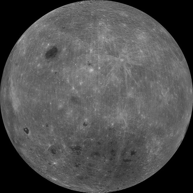 "This is the far side of the Moon, or the ""back of the Man in the Moon's head."" This is a collage of approximately 50,000 images taken in 1998 by NASA's Clementine orbiter."