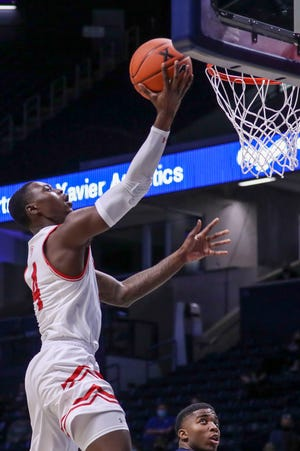 Nov 26, 2020; Cincinnati, Ohio, USA; Bradley Braves guard Terry Nolan Jr. (4) goes up for a basket against the Xavier Musketeers in the second half at Cintas Center. Mandatory Credit: Katie Stratman-USA TODAY Sports