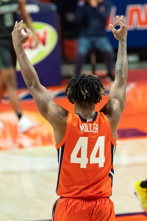 Nov 26, 2020; Champaign, Illinois, USA; Illinois Fighting Illini guard Adam Miller (44) reacts after his three point shot during the second half against the Chicago State Cougars at the State Farm Center. Mandatory Credit: Patrick Gorski-USA TODAY Sports