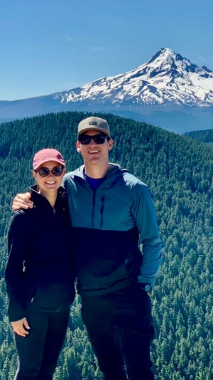Former Holy Cross quarterback Dominic Randolph and his fiancée Teresa Collins at Mount Hood in Oregon.