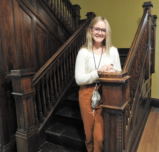 Leah Brinker of River View High School is performing her senior project at the Walhonding Valley Historical Society Museum by assisting with renovations and new displays.