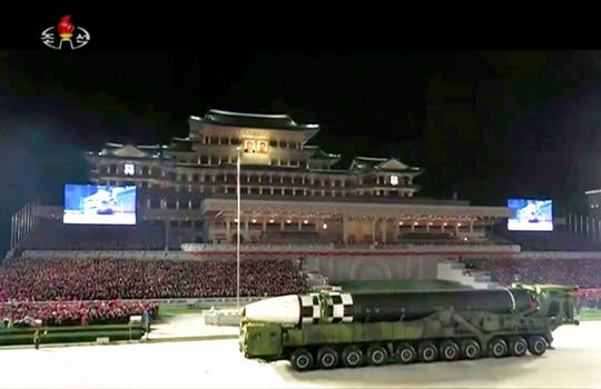 This image made from video broadcasted by North Korea's KRT, shows a military parade with what appears to be a possible new intercontinental ballistic missile at the Kim Il Sung Square in Pyongyang, Saturday, Oct. 10, 2020.