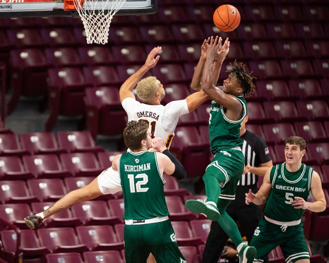 UWGB senior guard PJ Pipes, pictured in a game against Minnesota earlier this season, returned to the lineup in the Phoenix's 71-66 loss to Northern Kentucky at the Kress Center on Saturday.