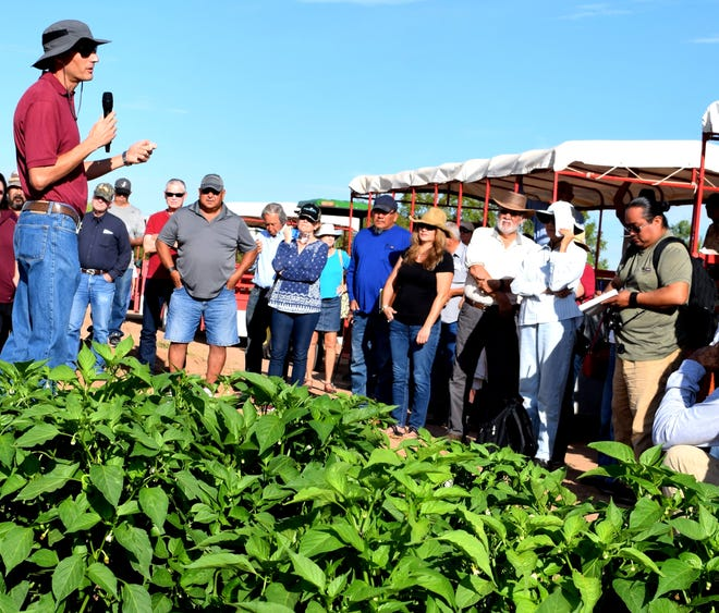 During a 2019 field day, Brian Schutte, New Mexico State University associate professor in weed science, talks to visitors about research he is conducting at NMSU's Agricultural Science Center at Los Lunas. With 12 agricultural science centers across New Mexico, NMSU is able to conduct relevant research for the state's diverse environmental conditions.