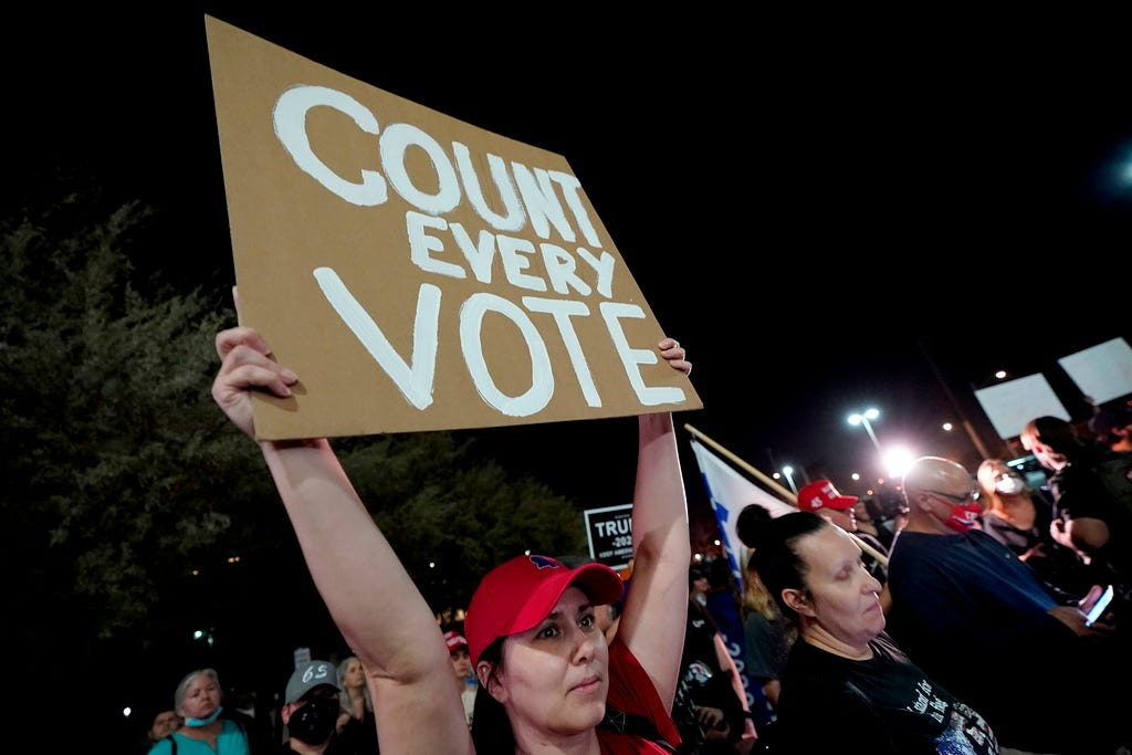 Supporters of President Donald Trump rally outside the Maricopa County Recorder's Office in Phoenix on Wednesday, Nov. 4, 2020.