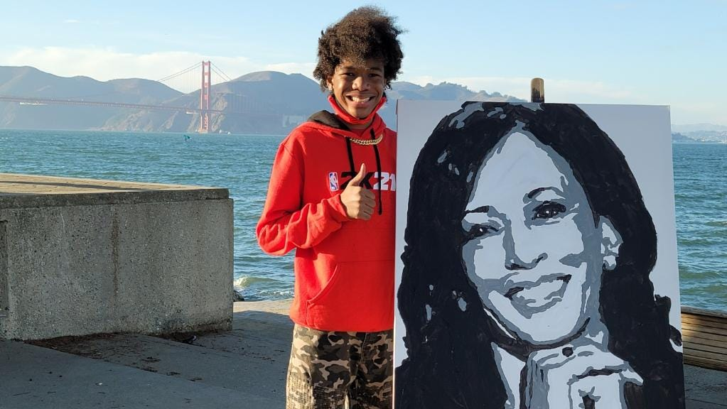 'She called me!!!!!': Vice President-elect Kamala Harris phones California teen to thank him for painting her portrait - USA TODAY