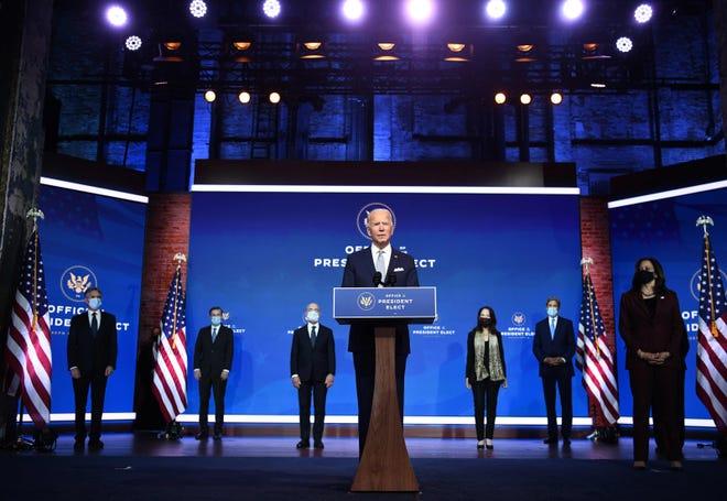 President-elect Joe Biden speaks during a Cabinet announcement event in Wilmington, Delaware.