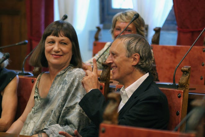 Daria Nicolodi and Dario Argento attend the wedding of Asia Argento and Michele Civetta on August 27, 2008, in Arezzo, Italy. Nicolodi has died at age 70.